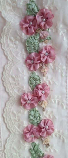 Wonderful Ribbon Embroidery Flowers by Hand Ideas. Enchanting Ribbon Embroidery Flowers by Hand Ideas. Ribbon Embroidery Tutorial, Silk Ribbon Embroidery, Embroidery Stitches, Hand Embroidery, Embroidery Designs, Embroidery Supplies, Leather Embroidery, Embroidery Blanks, Machine Embroidery