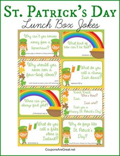 Love these free printable St. Patrick's Day Lunch Box jokes! 20 St. Patrick's Day DIY Crafts - It's A Fabulous Life