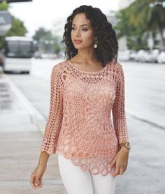 Side Sweep Sweater from Monroe and Main. Soft, curve-flattering artistry skims over you, enhancing your shape in an eye-dazzling crochet of gilt swirls, loops and scallops. Plus Size Sweaters, Plus Size Blouses, Plus Size Tops, Sweaters For Women, Plus Size Pullover, Crochet Blouse, Crochet Tops, Crochet Lace, Crochet Fashion