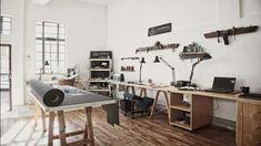 Inspirational Studio Work Spaces, – Creative Home Office Design Studio Table, Home Studio, Dream Studio, Studio Studio, Workspace Design, Home Office Design, Small Workspace, Design Loft, House Design