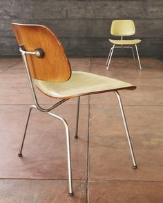 Pair of early @hermanmiller #Eames DCM chairs with leather upholstery!