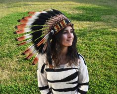 Three colors brown Chief indian Feather Headdress /native american Warbonnet by theworldoffeathers. Explore more products on http://theworldoffeathers.etsy.com