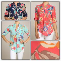 Apostolic Clothing, Mint And Navy, Floral Button Up, Modest Outfits, Cardigans, Floral Tops, Coral, Blouses, Buttons