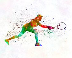 Woman tennis player 02 in watercolor - Fine Art Print Glicee Poster Home Watercolor sports Gift Room Illustration Wall - SKU 2319 Sports Gifts, Softball Gifts, Cheerleading Gifts, Basketball Gifts, Tennis Wallpaper, Tennis Drawing, Toddler Themes, Art Wall Kids, Wall Art