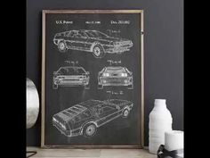 DeLorean Patent Poster, Back To The Future Poster, Car Poster, Mechanic Gift, Teen Room Outer Space Nursery, Outer Space Decorations, Mechanic Gifts, Car Posters, Wall Decor, Wall Art, Patent Prints, Metal Gear, Back To The Future