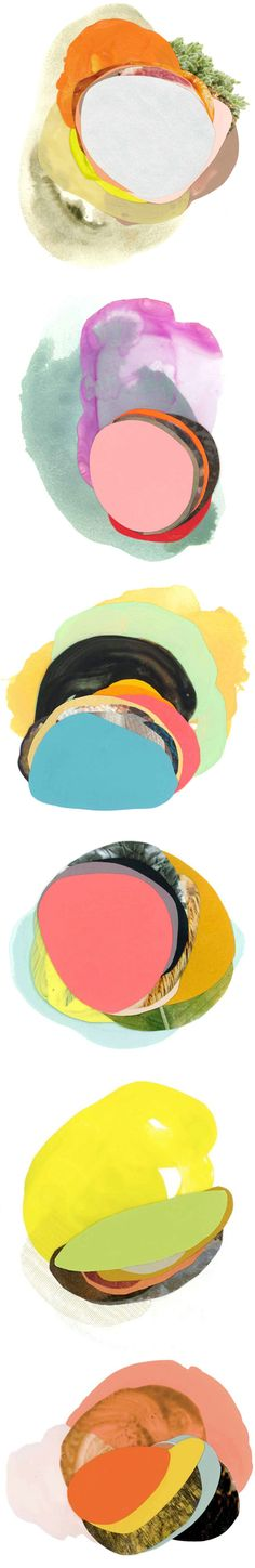 Yum. These are the layered, colorful, beautifully composed mixed media paintings of Austin based artist Xochi Solis.