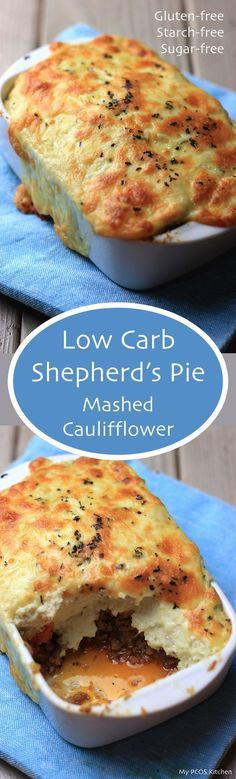 Kitchen - Low Carb Shepherd's Pie - Mashed Cauliflower topped over delicious ground meat. #lowcarbrecipe