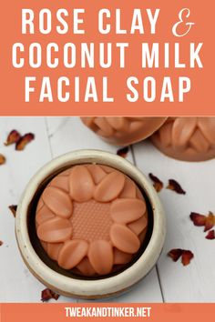 Rose Clay & Coconut Milk Facial Soap - Tweak and Tinker - Rose clay and coconut milk powder make this cold process soap recipe especially gentle and nourishi - Diy Savon, Savon Soap, Coconut Oil Soap, Coconut Milk Powder, Homemade Soap Recipes, Homemade Facials, Homemade Scrub, Scd Recipes, Homemade Breads