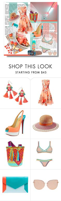 """Day to Play"" by danniellebuckley ❤ liked on Polyvore featuring Lanvin, Lilly Pulitzer, Lela Rose, Christian Louboutin, Missoni Mare, Castellano Ethnic Origins, kiini, YLIANA YEPEZ, Topshop and Pacifica"