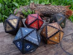 D20 leather dice container handmade customized with names