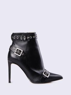 Built from smooth leather, this streamlined ankle boot features studied proportions and an impeccable fit. Set on a slim sculptural heel, this feminine style is punctuated with bold buckled straps for an edgy twist. #fashion #grunge #afflink #lovethis