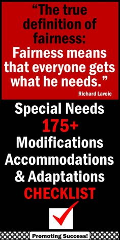 Special Education: In this special education packet, you will receive a checklist of more than 175 special education accommodations, modifications and adaptations to use in any classroom. The special education categories include: Textbooks and Materials, Setting/Environment, Presentation of Content, Tests and Grades, and Student Response. In addition, you will receive nine types of special education adaptations with real life classroom examples…