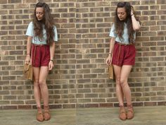Pale Blue Jumper, Burgundy Shorts, Tan/Floral Bag, Pop Socks, Tan Brogues