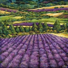 """""""Tuscan Lavender."""" Contempoary European landscape painting on canvas of Lavender fields near Tuscany by artist Johnathan Harris. Own a fine art giclee print."""