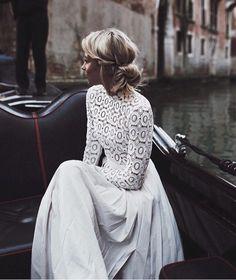 White lace & pleated maxi