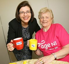 29 April 2014 - Belfast International Airport PR Manager Deborah Harris is pictured with Short Strand resident Jean O'Neill at the Age NI Day Centre situated in the East Belfast's state of the art Skainos Centre.  http://www.belfastairport.com/en/news/1/334/bia-uphold-long-standing-tradition-of-giving.html #ageni #charity #support #skainoscentre #giving #belfast #airport #belfastinternational #belfastinternationalairport #bia