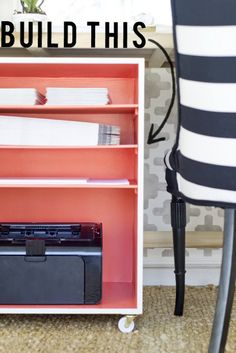 DIY Home Projects | Storage and Organization | Get the step-by-step tutorial to build this rolling office shelf. It's perfect for storing paper and your printer and can slide right under your desk!