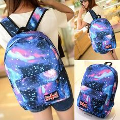 26153c77a5b9 2014 New Women Oxford printing backpack Galaxy Stars Universe Space School  Book Campus student Backpack British