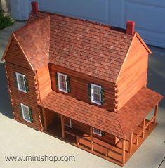 Ponderosa Log Doll House Kit, w/Logs - Miniature Log Home - Alkis Pro Cabin Dollhouse, Dollhouse Kits, Wooden Dollhouse, Dollhouse Furniture, Dollhouse Miniatures, Miniature Houses, Miniature Dolls, Fairy Houses, Doll Houses