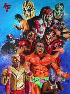 Painted WWE Warriors from the & Wrestling Posters, Wrestling Wwe, Wrestling Rules, Wwe Lucha, Attitude Era, Divas, Catch, Jeff Hardy, Wwe Tna