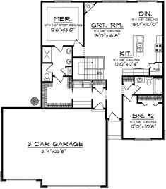 Ranch Style House Plan - 2 Beds Baths 1367 Sq/Ft add windows in master bedroom, change kitchen island to angled design, ensure garage is big enough for a conversion van 3 car garage could be converted to indoor/outdoor catio. 2 Bedroom House Plans, Ranch House Plans, Best House Plans, Small House Plans, House Floor Plans, Split Level House Plans, The Plan, How To Plan, Plan Plan
