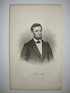 Civil War Steel Engraving Abraham Lincoln