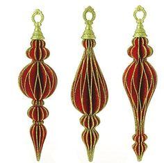 "12"" Glittered Finial Ornaments - Set of 3  Price : $31.95 http://www.perfectlyfestive.com/RAZ-Imports-Glittered-Finial-Ornaments/dp/B00MN4YMLE"