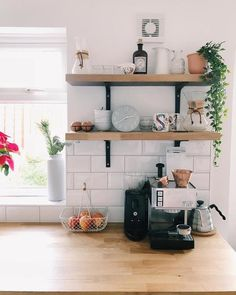 LACK Wall shelf, white stained oak effect, cm - IKEA - Wohnideen - Kitchen Family Rooms, Kitchen Room Design, Living Room Kitchen, Kitchen Interior, Kitchen Wall Shelves, Kitchen Shelf Decor, Modern Kitchen Wall Decor, Oak Shelves, Decorating Kitchen