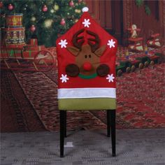 1pc Santa Claus Cap Chair Cover Christmas Dinner Table Party Red Hat Back Covers