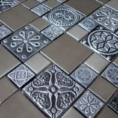 Roman Pattern Stainless Steel And Pewter Accents Metal Tile - Kitchen Backsplash / Bathroom Wall / Home Decor / Fireplace Surround - Glass Tiles - Amazon.com