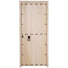 Serie de puertas macizas de madera de pino de estilo rústico, sin barnizar, indicadas para entrada de vivienda en exterior.