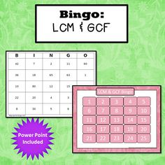 Lowest common multiple and greatest common factor Bingo. (LCM and GCF) Simone's Math Resources