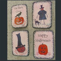 4 Halloween Magnets Wood Ply  by Cheryl Weaver ofg by cherylweaver, $10.00