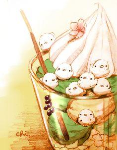 「春の和風パフェ」/「チャイ」のイラスト [pixiv]