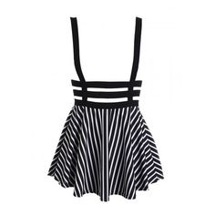 Black and White Stripe Lattice Cut Out High Waisted Shoulder-straps... (21 CAD) ❤ liked on Polyvore