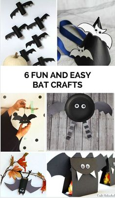 6 Fun and Easy Bat Crafts for Kids to celebrate Halloween.