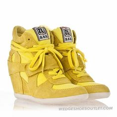 e492ef6889c3 Stylish Ash Women s Bowie Wedge Sneaker Lemon Suede High-top In The Modern