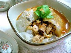 彰化肉圆 #Taiwanese giant dumpling - Bawan / Ba Wan [ Dough: rice flour, sweet potato starch, water. Filling: pork fillet, bamboo shoots, shiitake mushrooms, fried shallots, light soy sauce,  five spice powder]