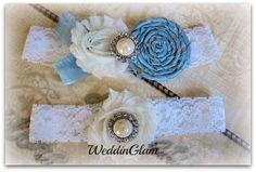 Lace Bridal Garter, Vintage garter, toss garter, Bridal gift, Bridal accessories, Silk rosette garter, Ivory Blue Garter, Garter Belt