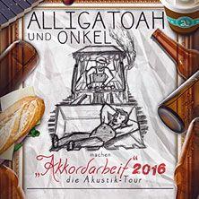 Alligatoah: Akkordarbeit 2016 - die Akustik-Tour mit Onkel // 06.11.2016 - 16.11.2016  // 06.11.2016 20:00 BERLIN/Admiralspalast - Theater // 07.11.2016 20:00 ESSEN/Lichtburg Essen // 08.11.2016 20:00 GERA/Kultur   Kongreß ZENTRUM GERA // 12.11.2016 20:00 OFFENBACH AM MAIN/Capitol Offenbach // 16.11.2016 20:00 KÖLN (DEUTZ)/Theater am Tanzbrunnen