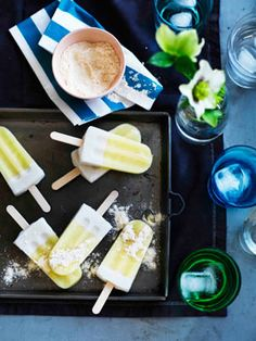 Pine-lime coconut pops with passionfruit sherbet