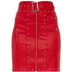 Red Faux Leather Stud Detail Belted Mini Skirt ($32) ❤ liked on Polyvore featuring skirts, mini skirts, red miniskirt, vegan leather skirt, belted skirts, leather look skirt and short skirts