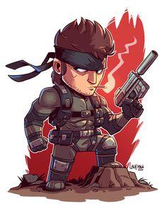 Chibi Solid Snake - by Derek Laufman Cartoon Kunst, Comic Kunst, Cartoon Art, Cartoon Characters, Comic Art, Metal Gear Solid, Fan Art, Game Character, Character Design