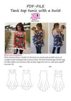 PDF-mønster/pattern: Tank Top Tunic With a Twist woman size 34-58 (US – Made by Runi