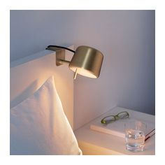 IKEA VARV clamp spotlight Easy to attach to the headboard for reading light in your bed. Headboard Lamp, Headboard With Lights, Bed Lights, Room Lights, Cama Ikea, Small Apartment Living, Guest Room Office, Home And Deco, Apartment Design