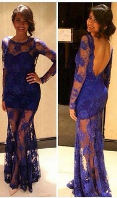 Royal blue Mermaid long sleeve Prom Dresses Lace Prom Dress