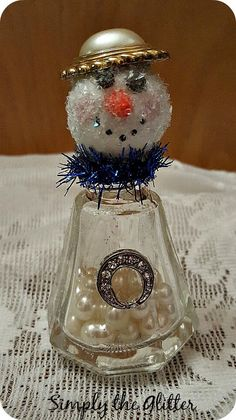 "Snowman Assemblage, Vintage Salt Shaker Snowman ""Bailey"", Glass Shaker, Glitter Snowman Decoration, Christmas Collectible, Original by SimplyTheGlitter on Etsy"