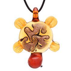 "Bleek2sheek Murano-inspired Glass Amber Yellow ""Tribal Turtle"" Pendant Necklace"