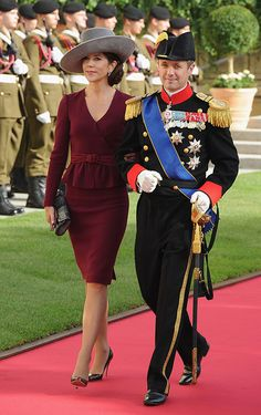 Crown Princess Mary of Denmark and Crown Prince Frederik of Denmark at the wedding ceremony of Prince Guillaume and Princess Stephanie of Luxembourg on October 20. Source: Getty