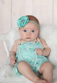 Aqua Silk Headband  Baby Flower Headband  by Pinkpaisleybowtique, $9.95